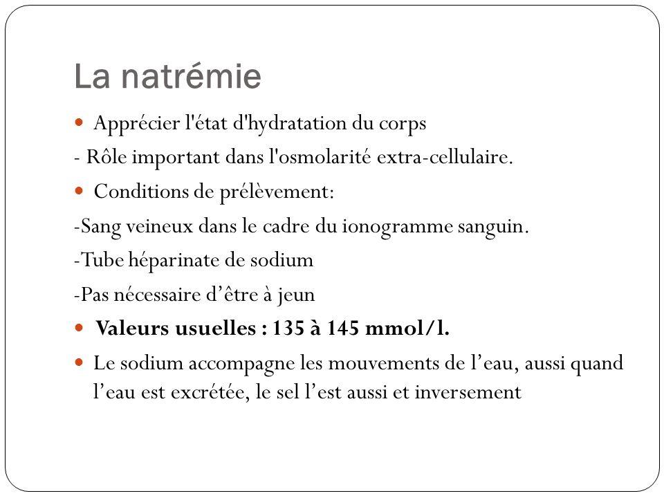 La natrémie Apprécier l'état d'hydratation du corps - Rôle important dans l'osmolarité extra-cellulaire. Conditions de prélèvement: -Sang veineux dans