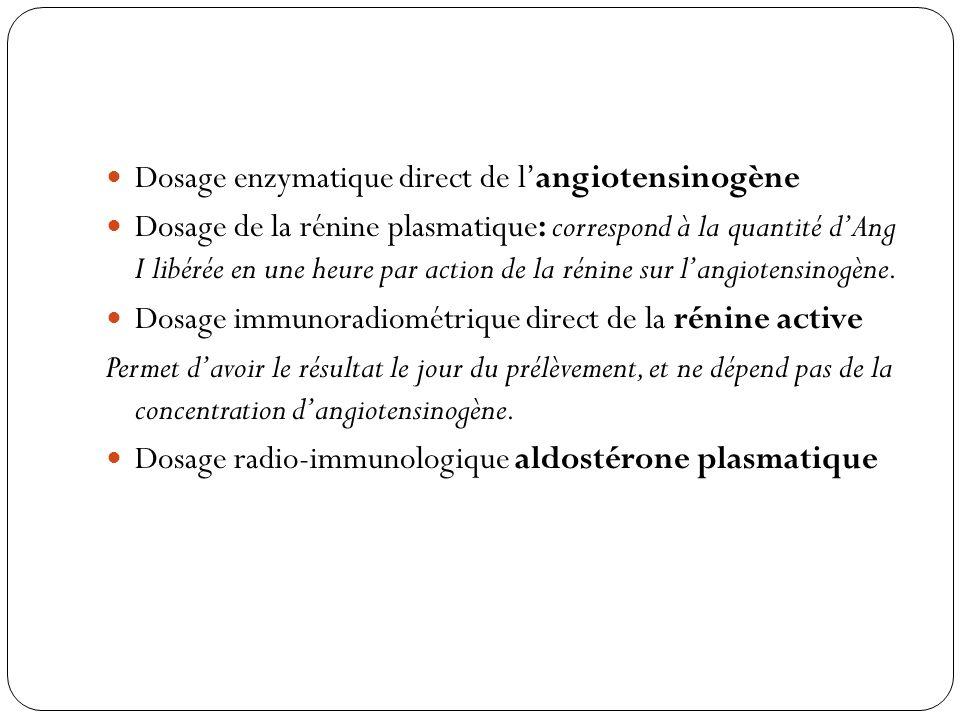 Dosage enzymatique direct de langiotensinogène Dosage de la rénine plasmatique: correspond à la quantité dAng I libérée en une heure par action de la