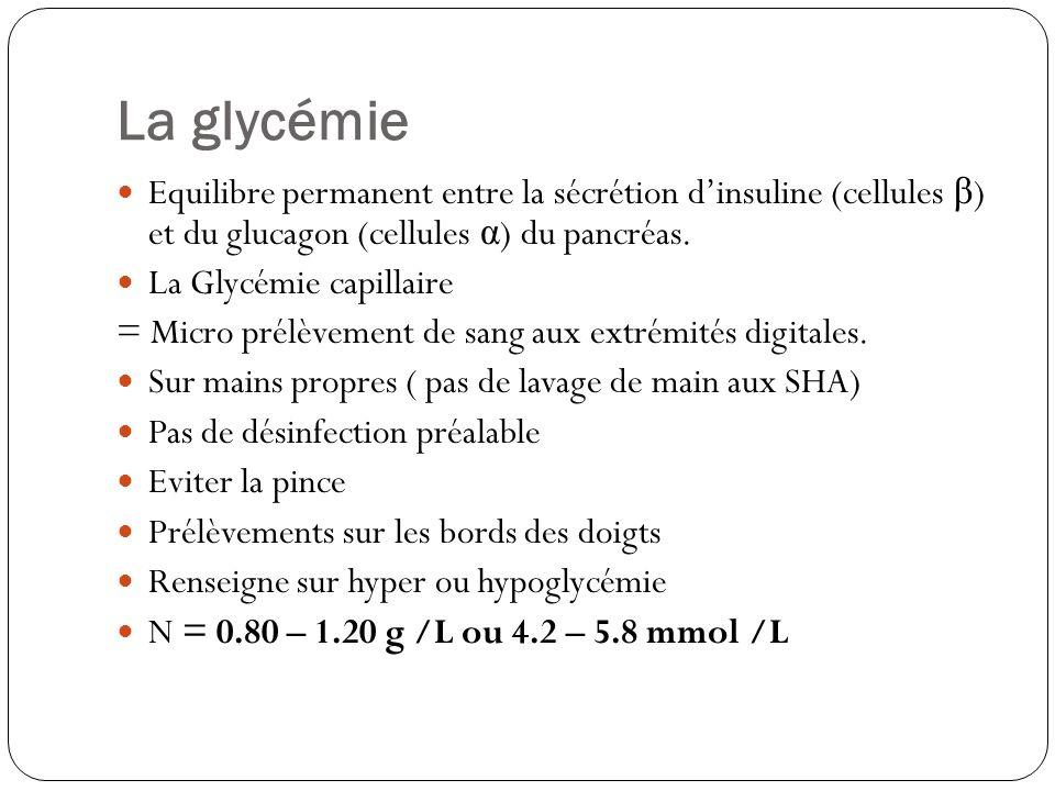 Equilibre permanent entre la sécrétion dinsuline (cellules β ) et du glucagon (cellules α ) du pancréas. La Glycémie capillaire = Micro prélèvement de
