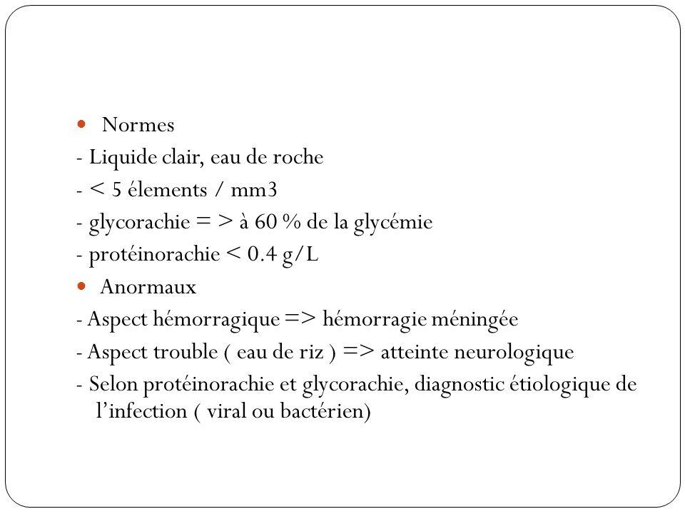 Normes - Liquide clair, eau de roche - < 5 élements / mm3 - glycorachie = > à 60 % de la glycémie - protéinorachie < 0.4 g/L Anormaux - Aspect hémorra