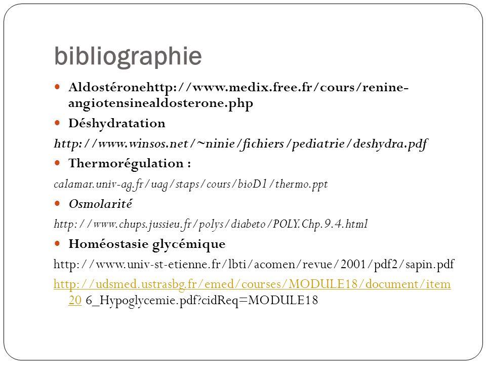 bibliographie Aldostéronehttp://www.medix.free.fr/cours/renine- angiotensinealdosterone.php Déshydratation http://www.winsos.net/~ninie/fichiers/pedia