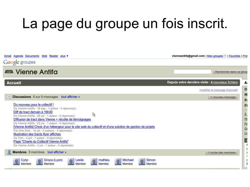 La page du groupe un fois inscrit.