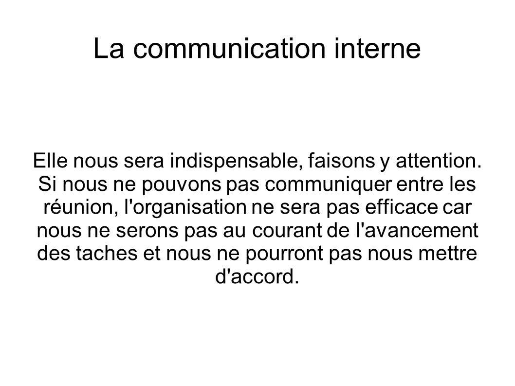 La communication interne Elle nous sera indispensable, faisons y attention.