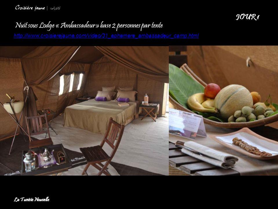 Nuit sous Lodge « Ambassadeur » base 2 personnes par tente http://www.croisierejaune.com/video/31_ephemere_ambassadeur_camp.html JOUR 1 La Tunisie Nou