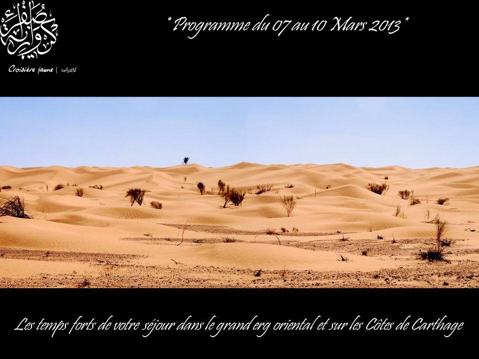 * Programme du 07 au 10 Mars 2013* Les temps forts de votre séjour dans le grand erg oriental et sur les Côtes de Carthage