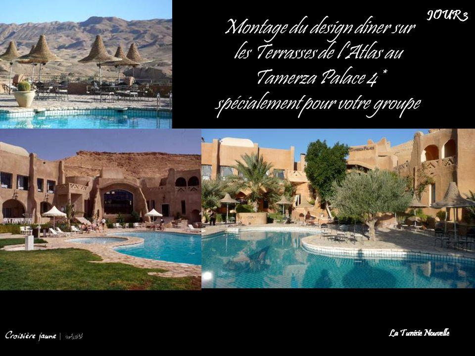 Montage du design diner sur les Terrasses de lAtlas au Tamerza Palace 4* spécialement pour votre groupe La Tunisie Nouvelle JOUR 3