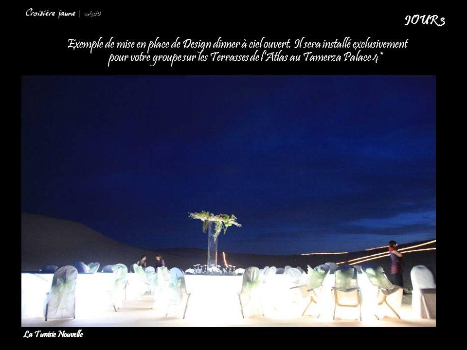 Exemple de mise en place de Design dinner à ciel ouvert. Il sera installé exclusivement pour votre groupe sur les Terrasses de lAtlas au Tamerza Palac
