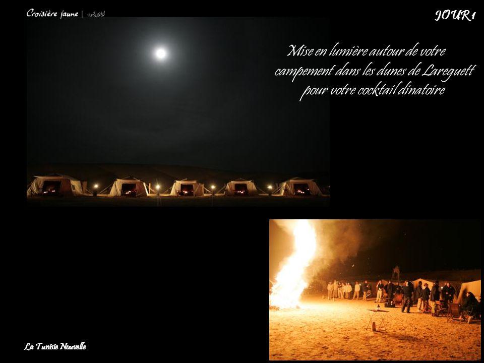 Mise en lumière autour de votre campement dans les dunes de Lareguett pour votre cocktail dinatoire La Tunisie Nouvelle JOUR 1