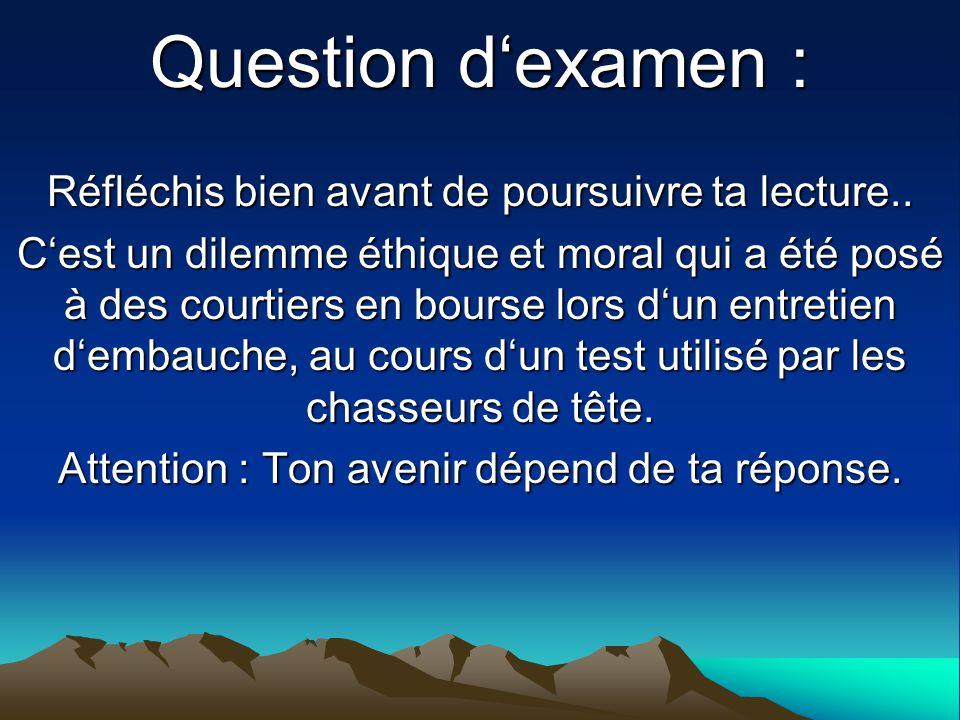 Question dexamen : Réfléchis bien avant de poursuivre ta lecture.. Cest un dilemme éthique et moral qui a été posé à des courtiers en bourse lors dun