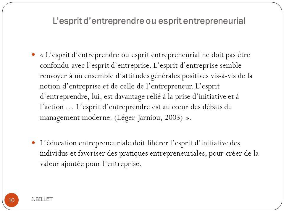 Lesprit dentreprendre ou esprit entrepreneurial J.BILLET 10 « Lesprit dentreprendre ou esprit entrepreneurial ne doit pas être confondu avec lesprit d