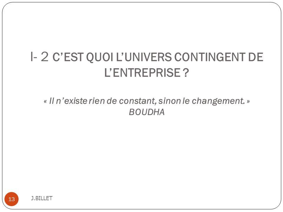 I- 2 CEST QUOI LUNIVERS CONTINGENT DE LENTREPRISE ? « Il nexiste rien de constant, sinon le changement. » BOUDHA J.BILLET 13