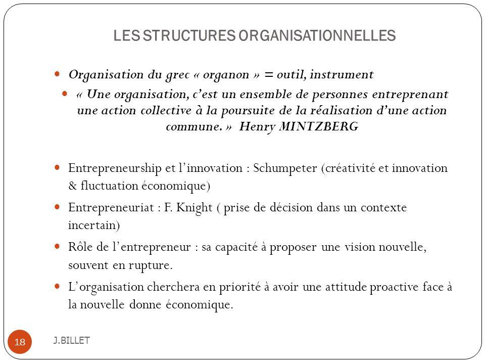 LES STRUCTURES ORGANISATIONNELLES J.BILLET 18 Organisation du grec « organon » = outil, instrument « Une organisation, cest un ensemble de personnes e