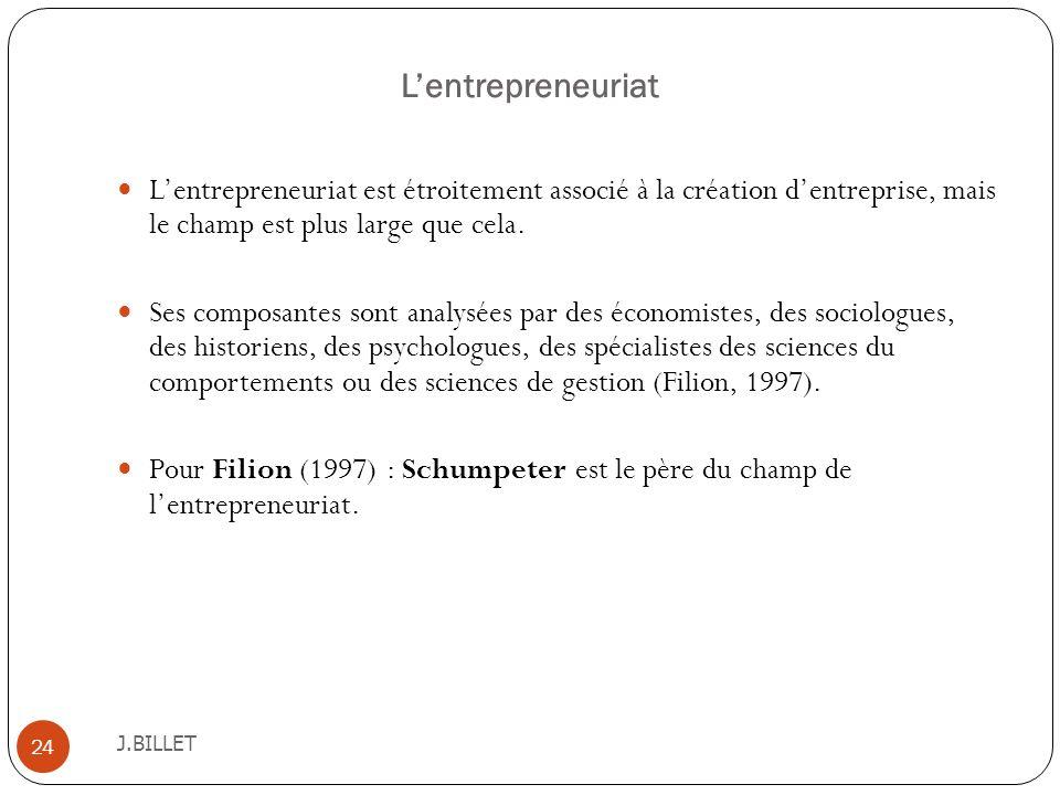 Lentrepreneuriat J.BILLET 24 Lentrepreneuriat est étroitement associé à la création dentreprise, mais le champ est plus large que cela. Ses composante