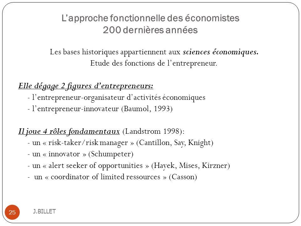 Lapproche fonctionnelle des économistes 200 dernières années J.BILLET 25 Les bases historiques appartiennent aux sciences économiques. Etude des fonct