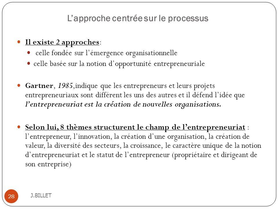 Lapproche centrée sur le processus J.BILLET 28 Il existe 2 approches: celle fondée sur lémergence organisationnelle celle basée sur la notion dopportu