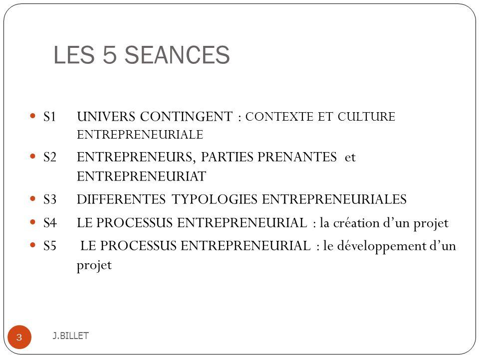 LES 5 SEANCES J.BILLET 3 S1 UNIVERS CONTINGENT : CONTEXTE ET CULTURE ENTREPRENEURIALE S2 ENTREPRENEURS, PARTIES PRENANTES et ENTREPRENEURIAT S3 DIFFER
