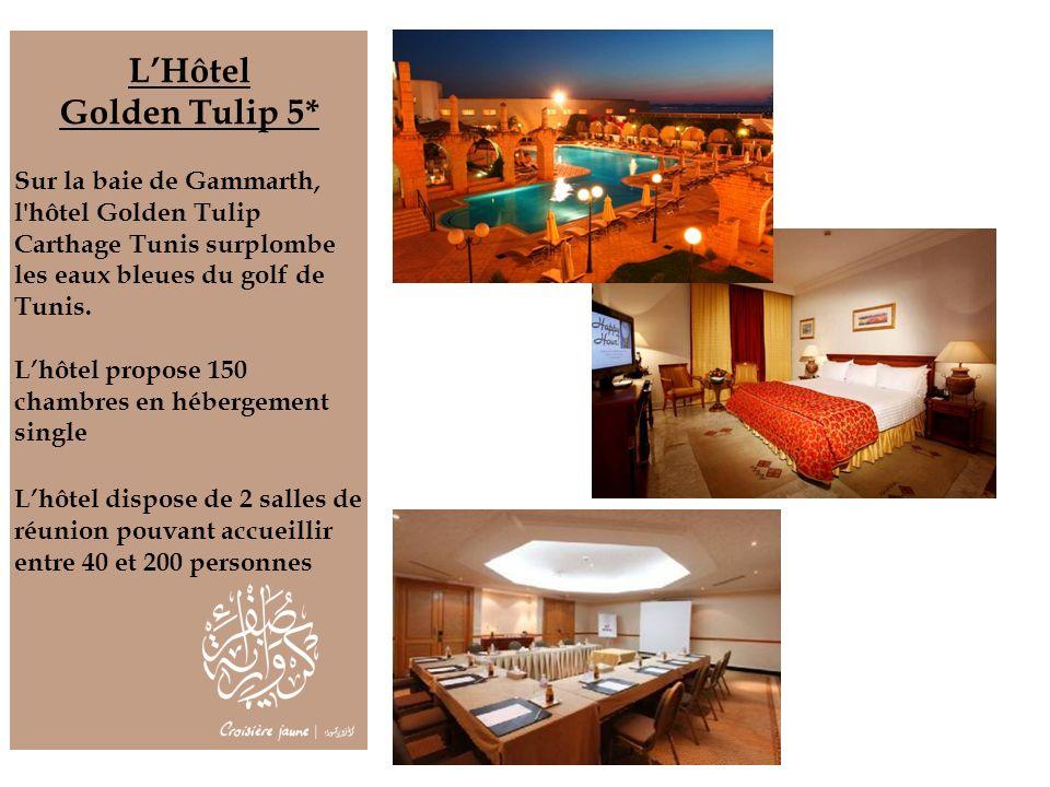 LHôtel Golden Tulip 5* Sur la baie de Gammarth, l'hôtel Golden Tulip Carthage Tunis surplombe les eaux bleues du golf de Tunis. Lhôtel propose 150 cha