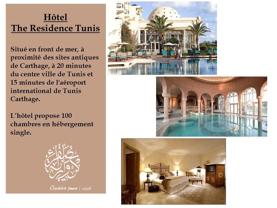 Hôtel The Residence Tunis Situé en front de mer, à proximité des sites antiques de Carthage, à 20 minutes du centre ville de Tunis et 15 minutes de l'