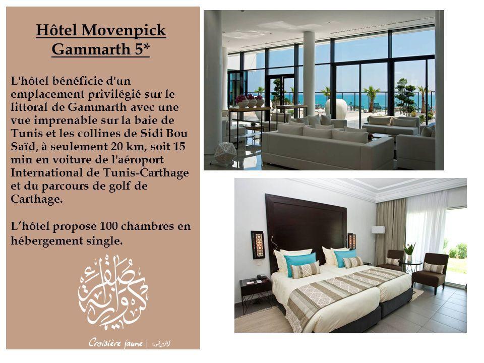 Hôtel Movenpick Gammarth 5* L'hôtel bénéficie d'un emplacement privilégié sur le littoral de Gammarth avec une vue imprenable sur la baie de Tunis et