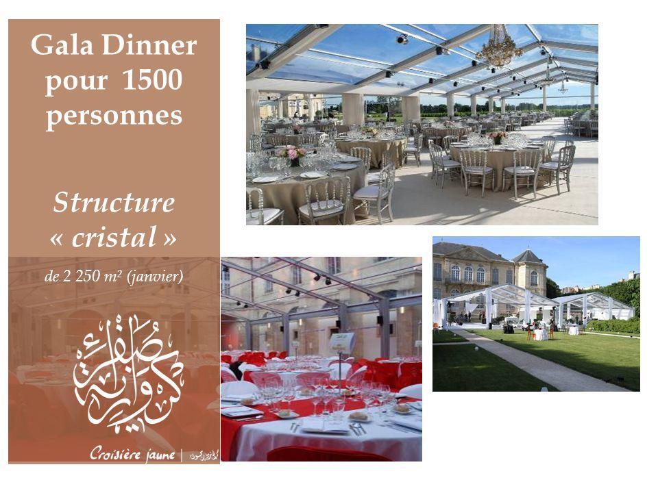 Gala Dinner pour 1500 personnes Structure « cristal » de 2 250 m² (janvier)