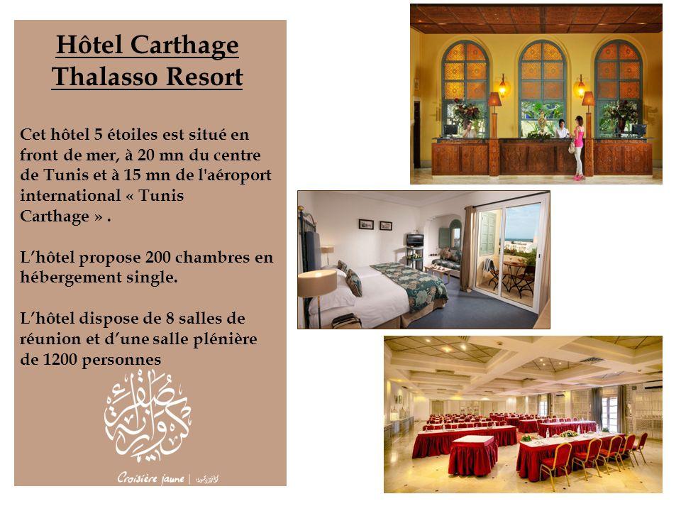Hôtel Carthage Thalasso Resort Cet hôtel 5 étoiles est situé en front de mer, à 20 mn du centre de Tunis et à 15 mn de l'aéroport international « Tuni