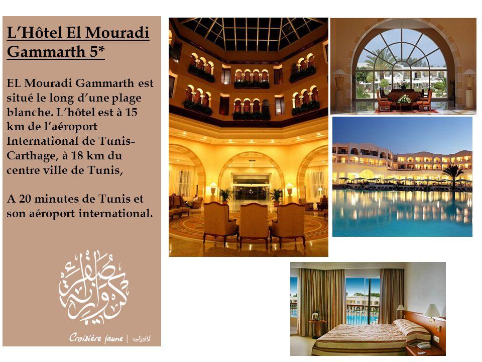 LHôtel El Mouradi Gammarth 5* EL Mouradi Gammarth est situé le long dune plage blanche. Lhôtel est à 15 km de laéroport International de Tunis- Cartha