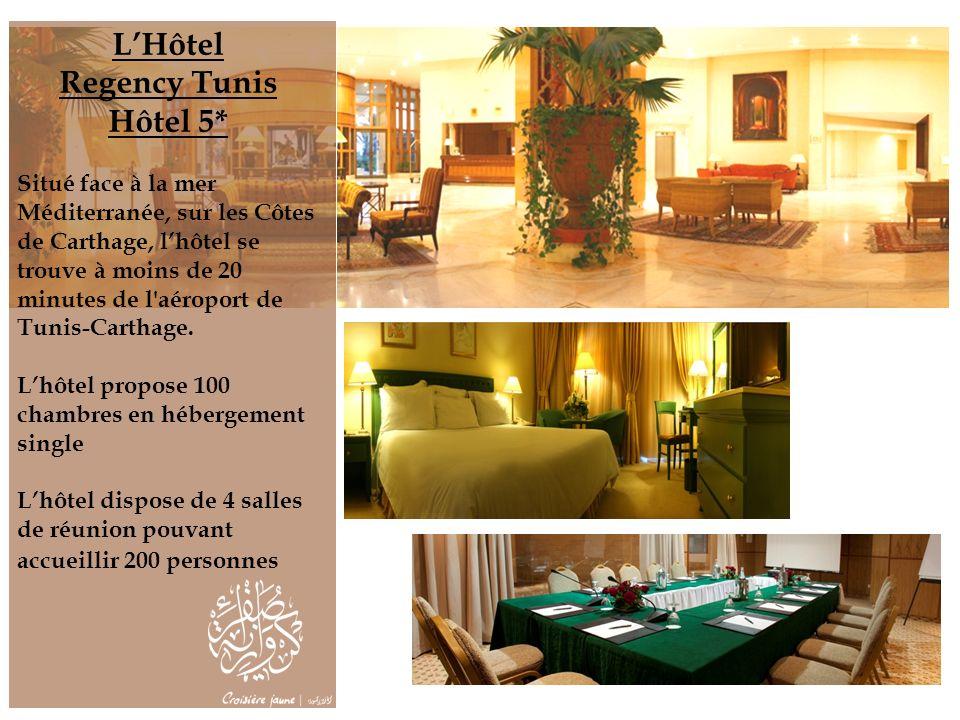 LHôtel Regency Tunis Hôtel 5* Situé face à la mer Méditerranée, sur les Côtes de Carthage, lhôtel se trouve à moins de 20 minutes de l'aéroport de Tun
