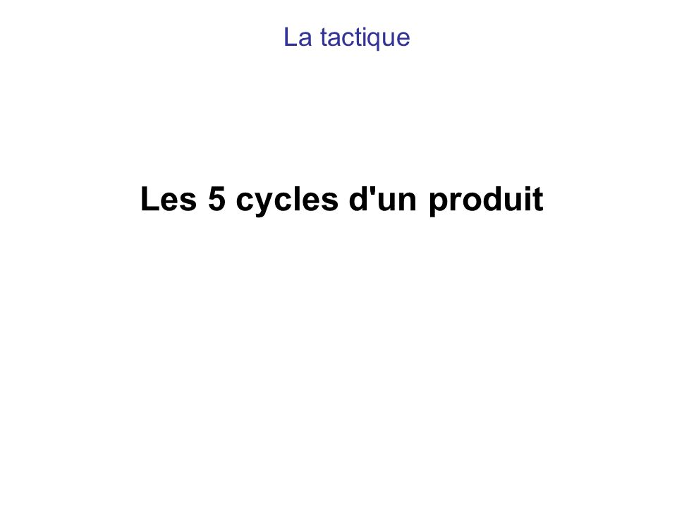Les 5 cycles d'un produit La tactique