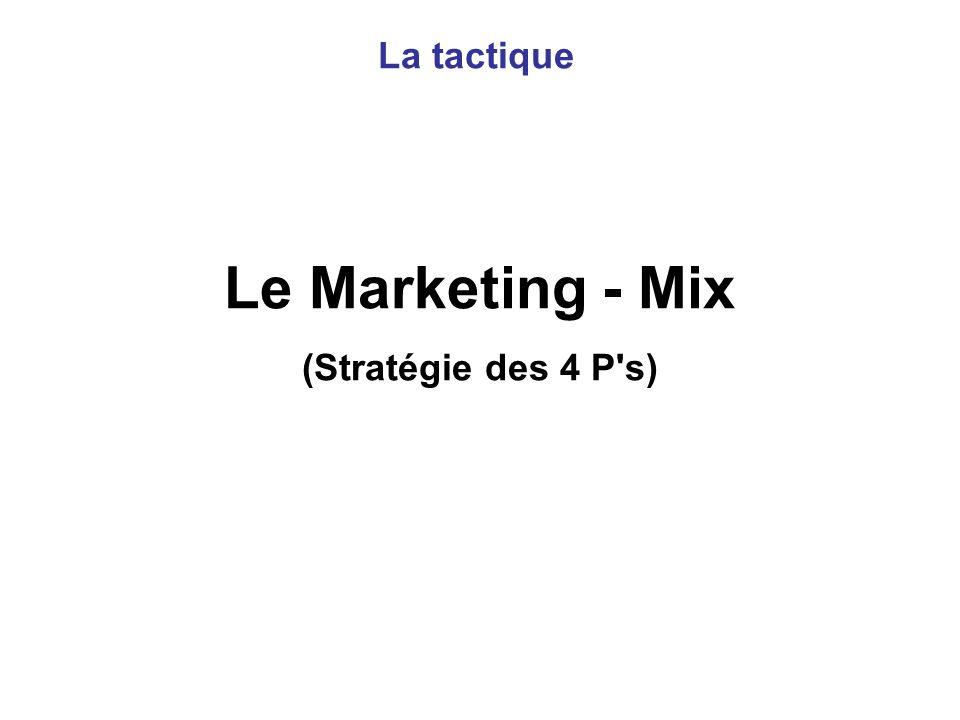 Le Marketing - Mix (Stratégie des 4 P's) La tactique