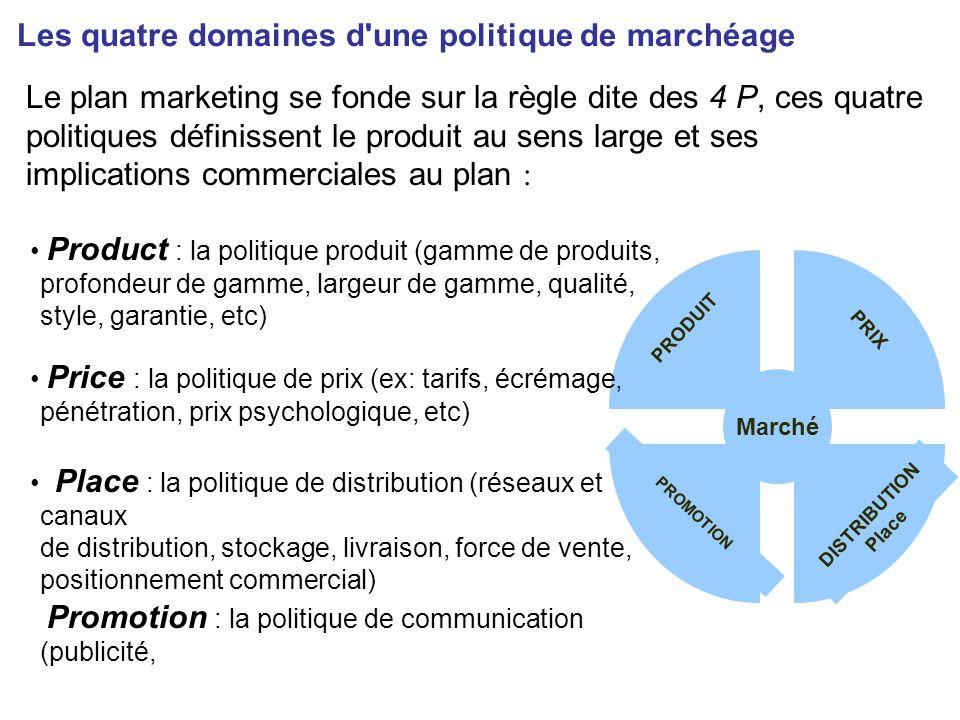 Product : la politique produit (gamme de produits, profondeur de gamme, largeur de gamme, qualité, style, garantie, etc) Les quatre domaines d'une pol