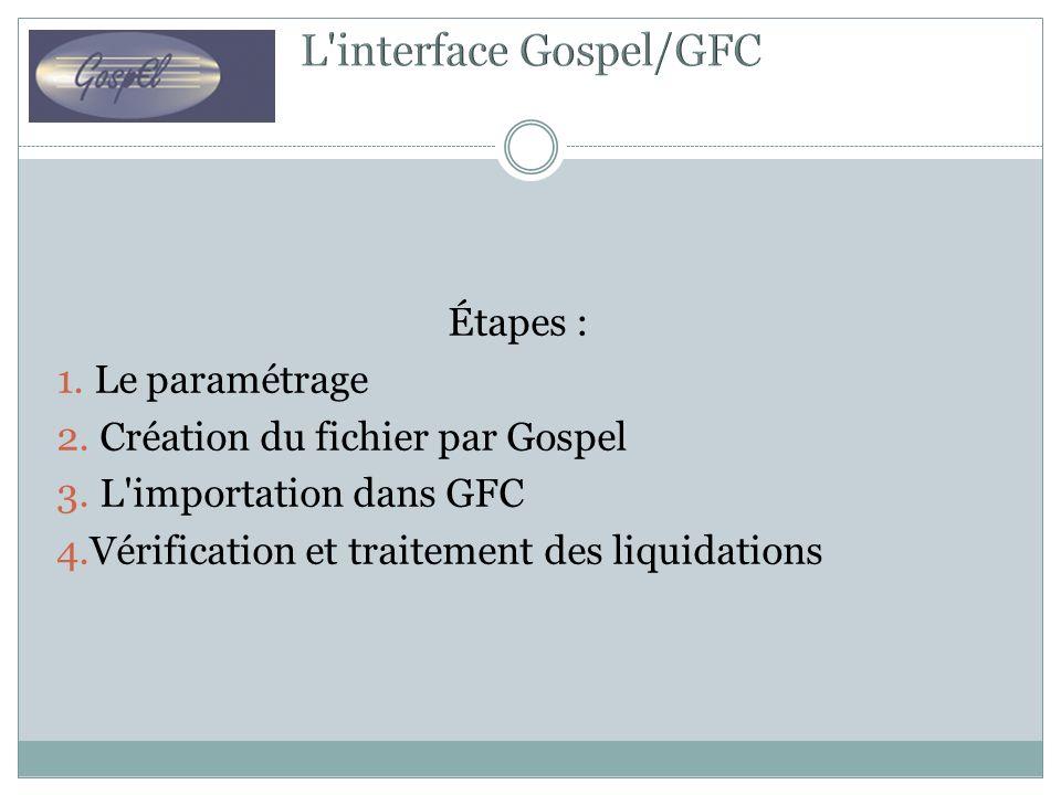 Étapes : 1. Le paramétrage 2. Création du fichier par Gospel 3. L'importation dans GFC 4.Vérification et traitement des liquidations