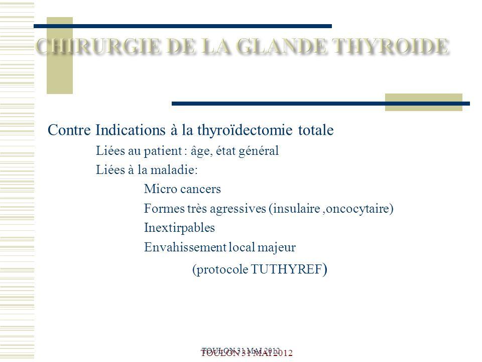 TOULON 31 MAI 2012 Contre Indications à la thyroïdectomie totale Liées au patient : âge, état général Liées à la maladie: Micro cancers Formes très ag