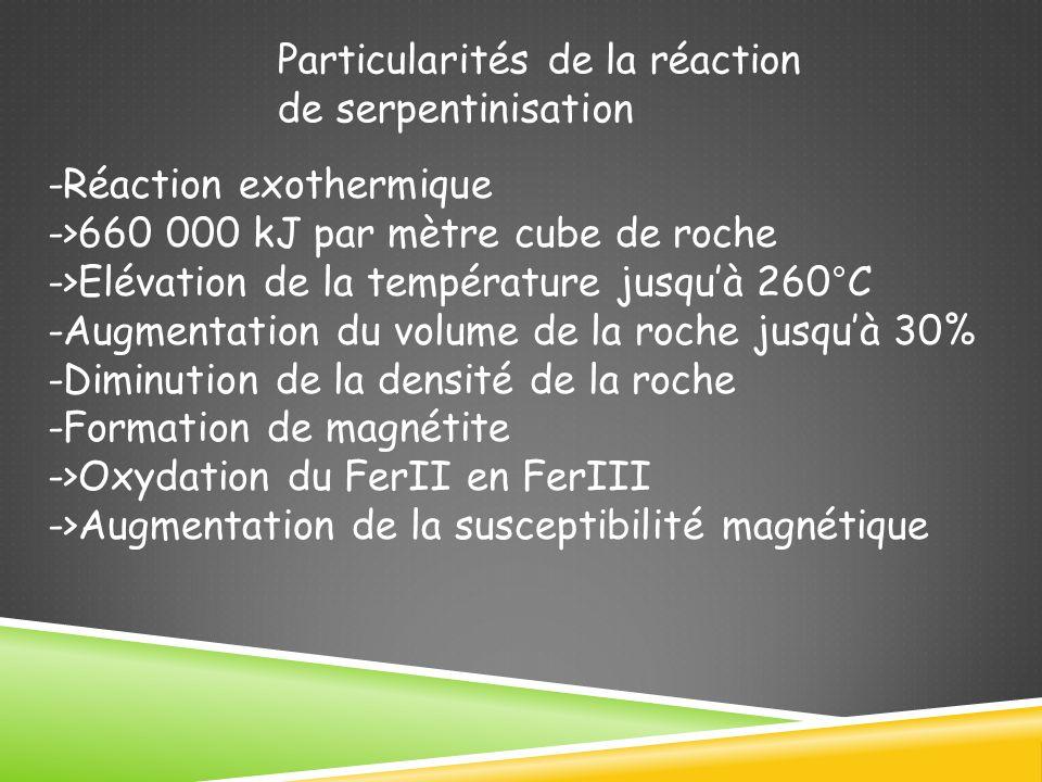 Particularités de la réaction de serpentinisation -Réaction exothermique ->660 000 kJ par mètre cube de roche ->Elévation de la température jusquà 260°C -Augmentation du volume de la roche jusquà 30% -Diminution de la densité de la roche -Formation de magnétite ->Oxydation du FerII en FerIII ->Augmentation de la susceptibilité magnétique
