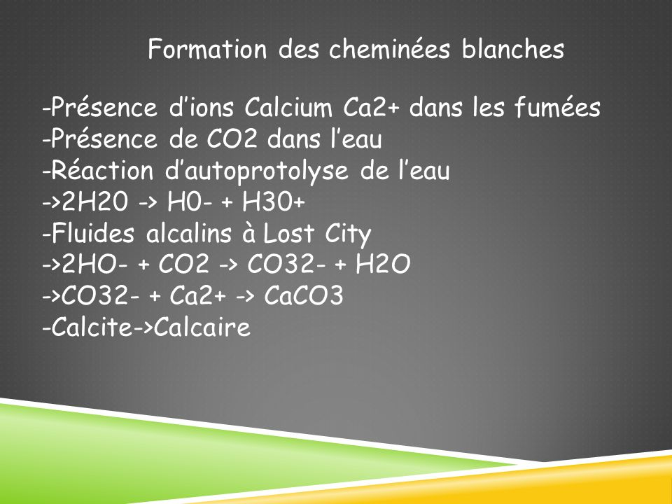 Formation des cheminées blanches -Présence dions Calcium Ca2+ dans les fumées -Présence de CO2 dans leau -Réaction dautoprotolyse de leau ->2H20 -> H0- + H30+ -Fluides alcalins à Lost City ->2HO- + CO2 -> CO32- + H2O ->CO32- + Ca2+ -> CaCO3 -Calcite->Calcaire