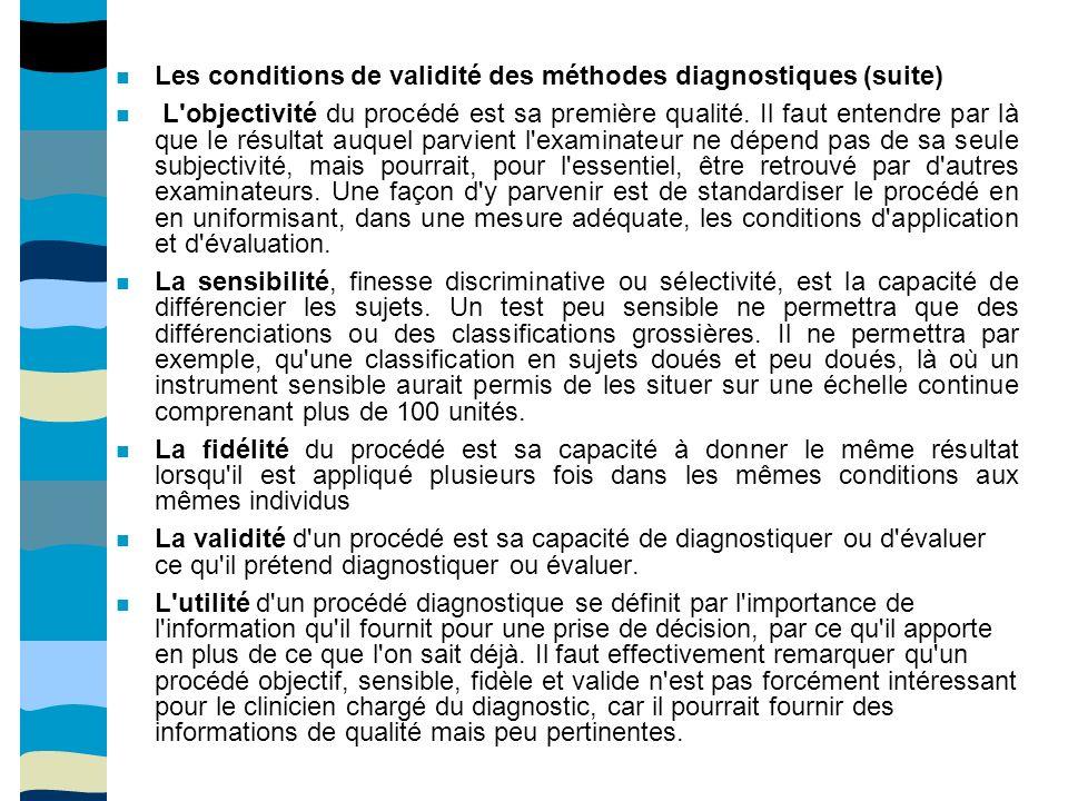 Les conditions de validité des méthodes diagnostiques (suite) L objectivité du procédé est sa première qualité.