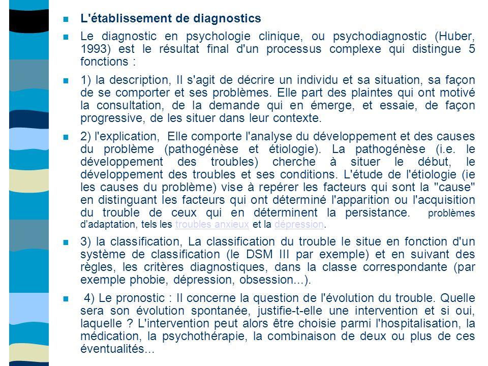 L établissement de diagnostics Le diagnostic en psychologie clinique, ou psychodiagnostic (Huber, 1993) est le résultat final d un processus complexe qui distingue 5 fonctions : 1) la description, Il s agit de décrire un individu et sa situation, sa façon de se comporter et ses problèmes.