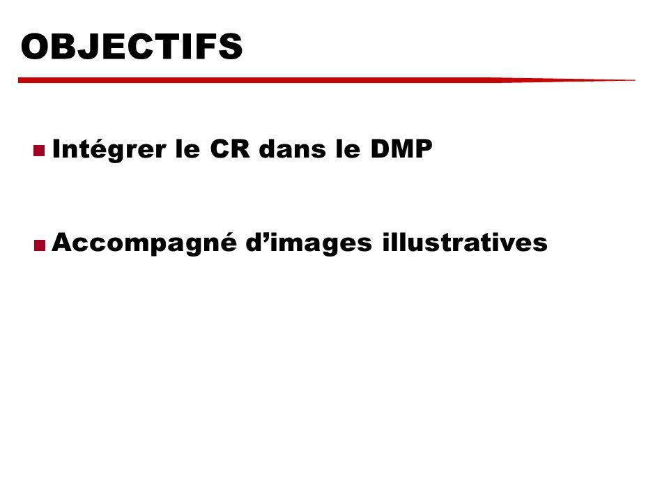 OBJECTIFS Intégrer le CR dans le DMP Accompagné dimages illustratives