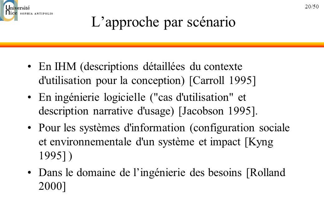 20/50 Lapproche par scénario En IHM (descriptions détaillées du contexte d utilisation pour la conception) [Carroll 1995] En ingénierie logicielle ( cas d utilisation et description narrative d usage) [Jacobson 1995].