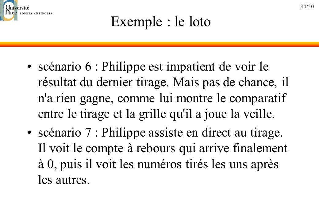 34/50 Exemple : le loto scénario 6 : Philippe est impatient de voir le résultat du dernier tirage.