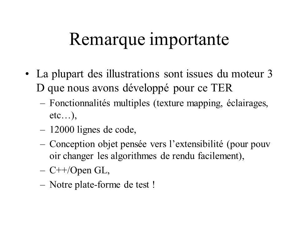 Remarque importante La plupart des illustrations sont issues du moteur 3 D que nous avons développé pour ce TER –Fonctionnalités multiples (texture ma