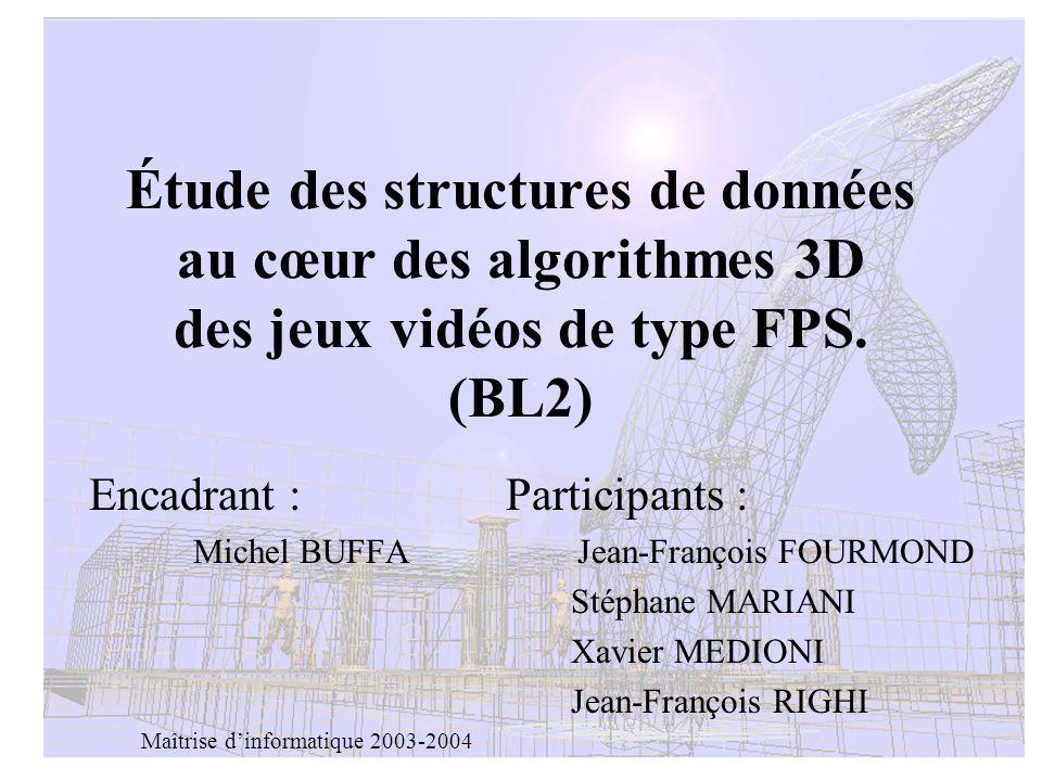 TER BL21 Étude des structures de données au cœur des algorithmes 3D des jeux vidéos de type FPS. (BL2) Encadrant :Participants : Michel BUFFA Jean-Fra