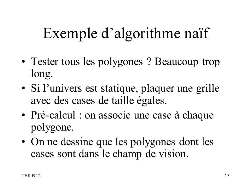 TER BL213 Exemple dalgorithme naïf Tester tous les polygones ? Beaucoup trop long. Si lunivers est statique, plaquer une grille avec des cases de tail