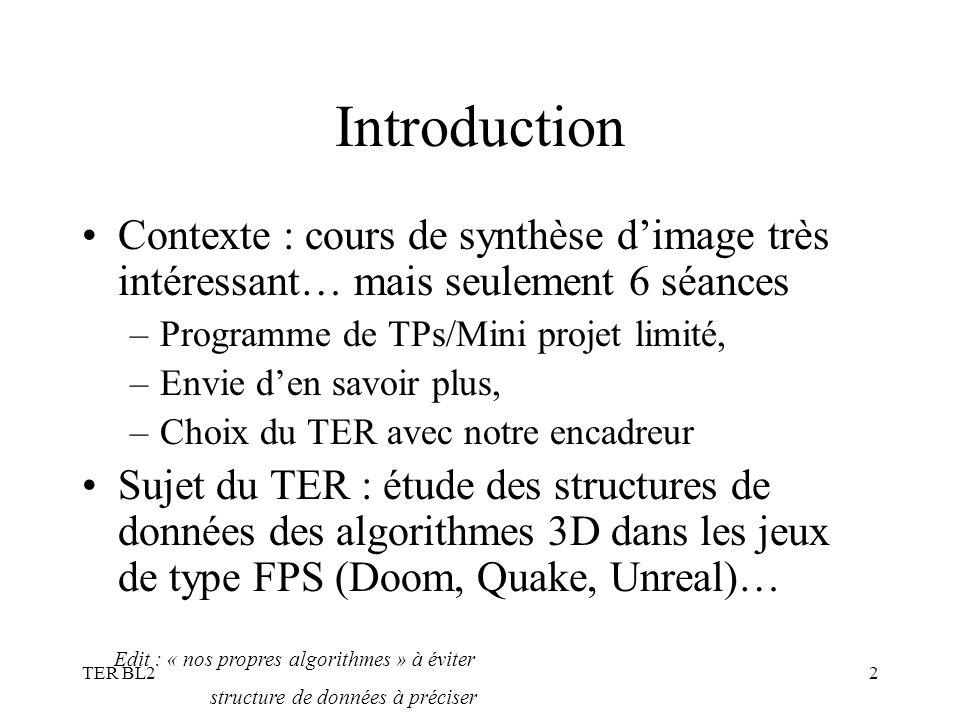 TER BL22 Introduction Contexte : cours de synthèse dimage très intéressant… mais seulement 6 séances –Programme de TPs/Mini projet limité, –Envie den