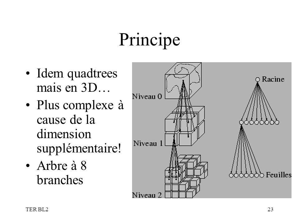 TER BL223 Principe Idem quadtrees mais en 3D… Plus complexe à cause de la dimension supplémentaire! Arbre à 8 branches