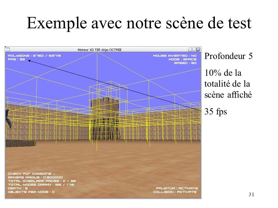 TER BL231 Exemple avec notre scène de test Profondeur 5 10% de la totalité de la scène affiché 35 fps