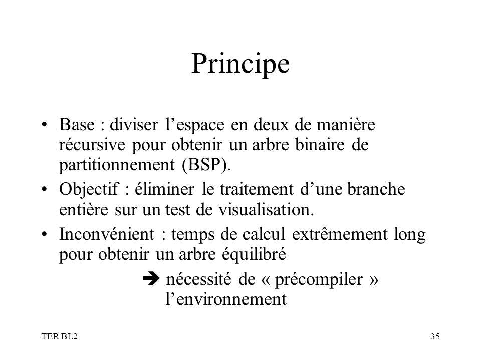 TER BL235 Principe Base : diviser lespace en deux de manière récursive pour obtenir un arbre binaire de partitionnement (BSP). Objectif : éliminer le