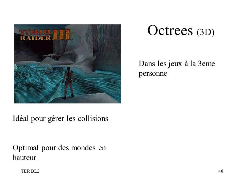 TER BL248 Octrees (3D) Dans les jeux à la 3eme personne Idéal pour gérer les collisions Optimal pour des mondes en hauteur