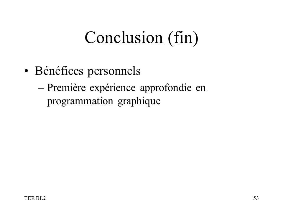 TER BL253 Conclusion (fin) Bénéfices personnels –Première expérience approfondie en programmation graphique
