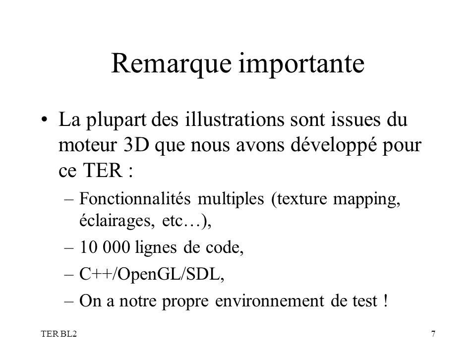 TER BL27 Remarque importante La plupart des illustrations sont issues du moteur 3D que nous avons développé pour ce TER : –Fonctionnalités multiples (texture mapping, éclairages, etc…), –10 000 lignes de code, –C++/OpenGL/SDL, –On a notre propre environnement de test !
