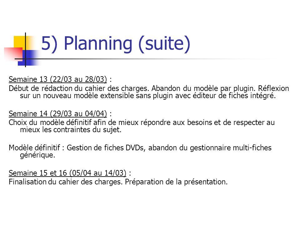 5) Planning (suite) Semaine 13 (22/03 au 28/03) : Début de rédaction du cahier des charges. Abandon du modèle par plugin. Réflexion sur un nouveau mod